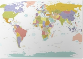 High Detail World map.Layers used. Poster