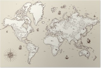 High detailed, Old world map with decorative elements Poster