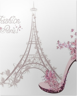 High-heeled shoes on background of Eiffel Tower. Paris Fashion Poster