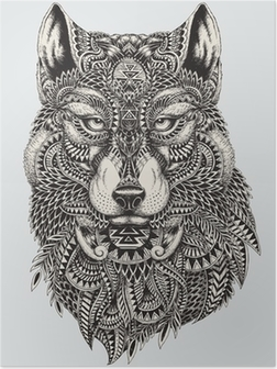Highly detailed abstract wolf illustration Poster
