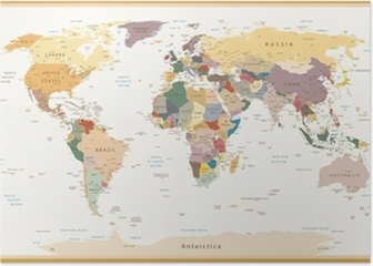Watercolor world map posters pixers highly detailed political world map vintage colors poster gumiabroncs Choice Image