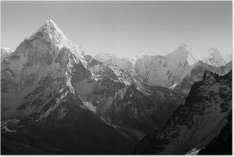 Himalaya Mountains Black and White Poster