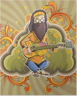 Poster Hippie med gitarr i nirvana