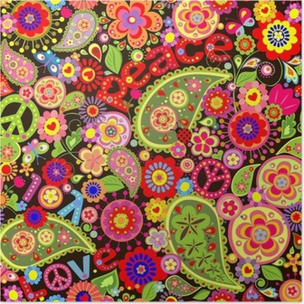 Hippie wallpaper with colorful spring flowers Poster