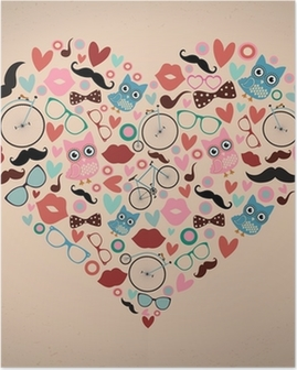 Hipster Doodles Set in Heart Shape Poster