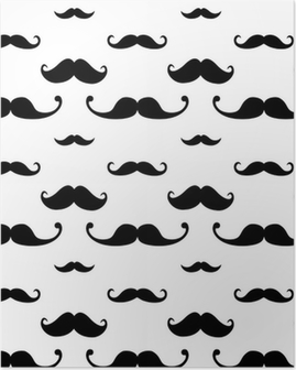 Hipster Mustache Seamless Pattern Poster