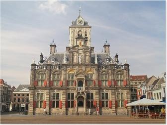 Poster Historische Stad van Delft, Nederland