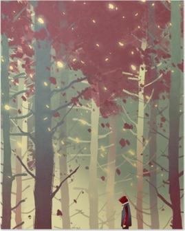Poster Homme debout dans la belle forêt avec la chute des feuilles, illustration peinture
