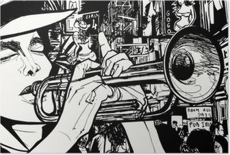 Poster Homme jouant de la trompette dans une zone de lumière rouge