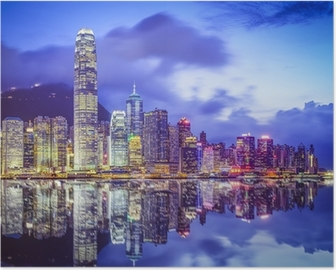 Poster Hong Kong, Chine City Skyline