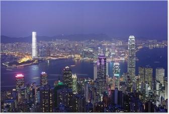 Póster Hong Kong por la noche