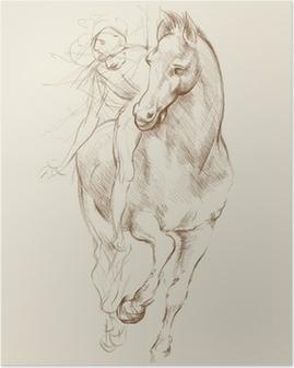 Horse and Rider. Based on drawing of Leonardo da Vinci Poster