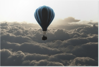 Hot air balloon in the sky Poster