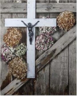 Poster Houten kruis en witte hortensia bloem op de achtergrond van de oude houten wanden