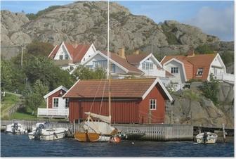 Poster Huizen door de zee aan de westkust van Zweden