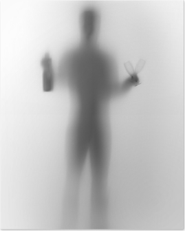 Human male body silhouette, with bottle and glasses Poster