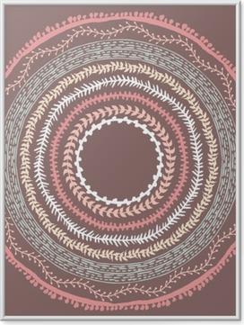 Poster i Ram Handritad Boho stil ram med plats för text.