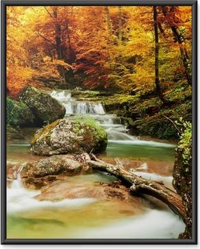 Poster i Ram Hösten bäck skogen med gula träd