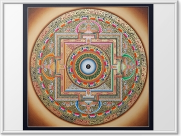 Poster i Ram Inre delen av forntida tangka Ohm Mandala på vitt