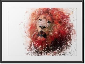 Poster i Ram Lion Head vattenfärg