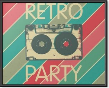 Poster i Ram Retro musikfest affischdesign. disco musik vintage party inbjudan mall.