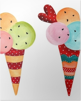 ice-cream. watercolors on paper Poster