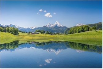 Idyllic summer landscape with mountain lake and Alps Poster