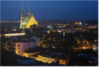 Illuminated St. Peter and Paul Cathedral at night, Brno Poster