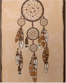 Poster Illustratie met tribal dreamcatcher
