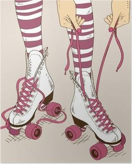 Poster Illustratie met vrouwelijke benen in retro rolschaatsen