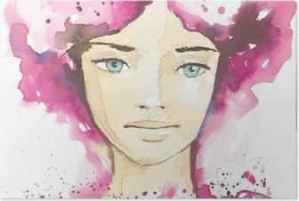 Poster Illustratie van de abstracte portret van een vrouw