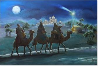 Poster Illustration de la Sainte Famille et trois rois