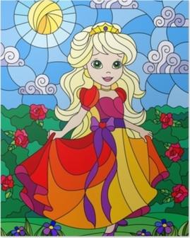 Poster Illustration i färgad glasstil med en söt prinsessa på en bakgrund av blommor och solig himmel