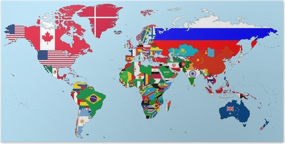 Illustration of the countries national flags on the world map poster illustration of the countries national flags on the world map poster backgrounds gumiabroncs Choice Image