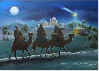 Illustration of the holy family and three kings Poster