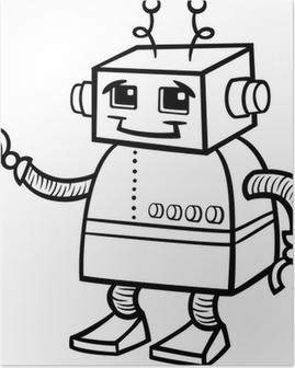 Ilustración De Dibujos Animados De Robot Para Colorear