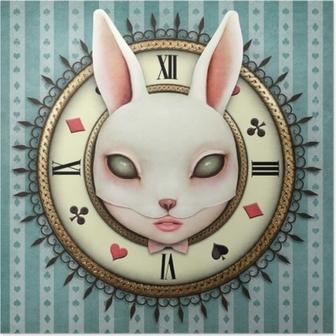 Póster Ilustración de fantasía con un reloj de bolsillo país de las maravillas y una máscara de cabeza conejita