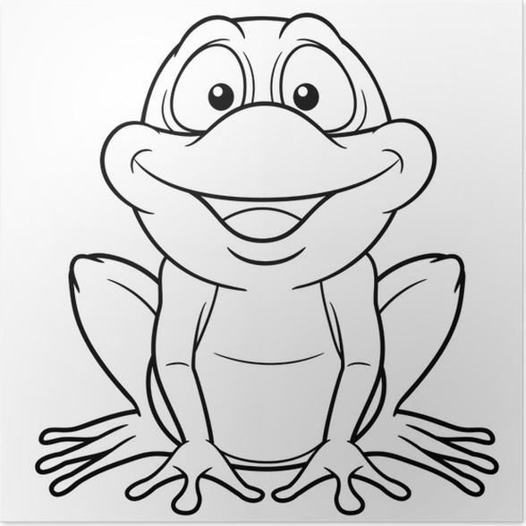 Póster Ilustración de la rana de dibujos animados - Libro para ...