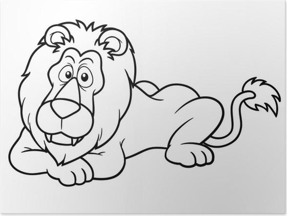 Póster Ilustración del león de dibujos animados - Libro para ...