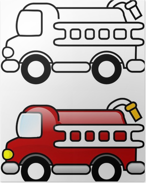 Póster Ilustración para colorear - Camión de Bomberos • Pixers ...