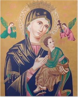 Poster Image catholique typique de la Vierge à l'enfant (Notre-Dame du Perpétuel Secours)