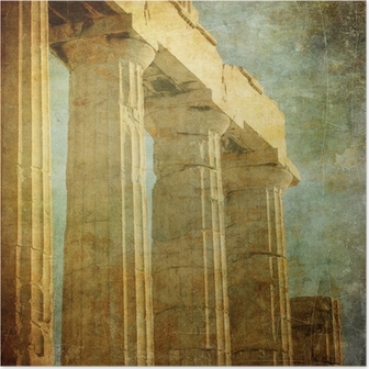 Póster Imagen de la vendimia de columnas griegas, la Acrópolis, Atenas, Grecia