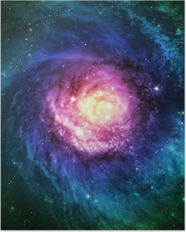 Incredibly beautiful spiral galaxy somewhere in deep space Poster