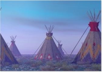 Indian Camp at Dawn Poster