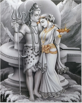indian god and godess shiv and parvti Poster