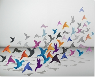 Poster Indoor vlucht, Origami Vogels beginnen in een gesloten ruimte te vliegen.