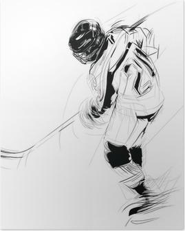 Poster Ink att dra illustration av en is hickey spelare