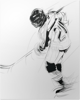 Ink drawing illustration of an ice hickey player Poster
