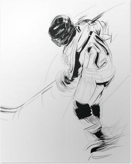 Poster Inkt tekening illustratie van een ijs Hickey speler