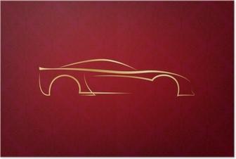 Póster Insignia del coche caligráfico abstracto en fondo rojo